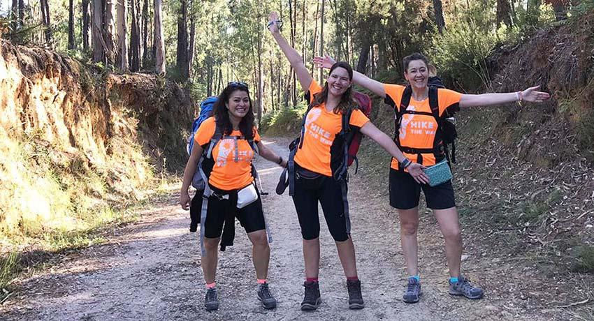 Camino goers with hike the way shirts