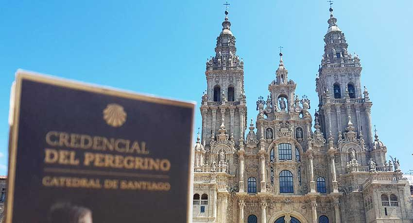 santiago's cathedral with pilgrim credential