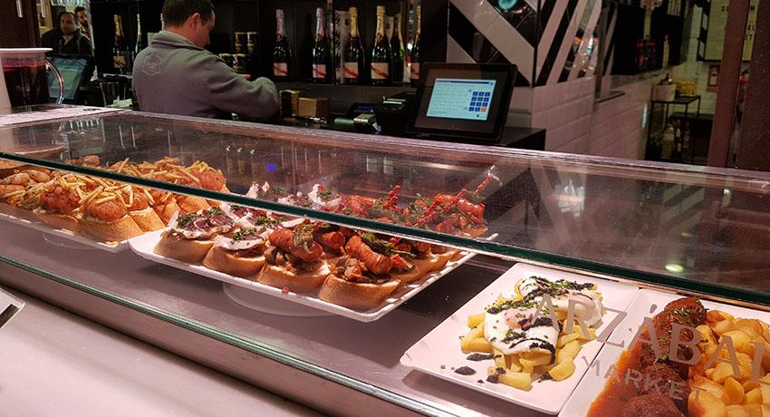 counter with Spanish food and tapas