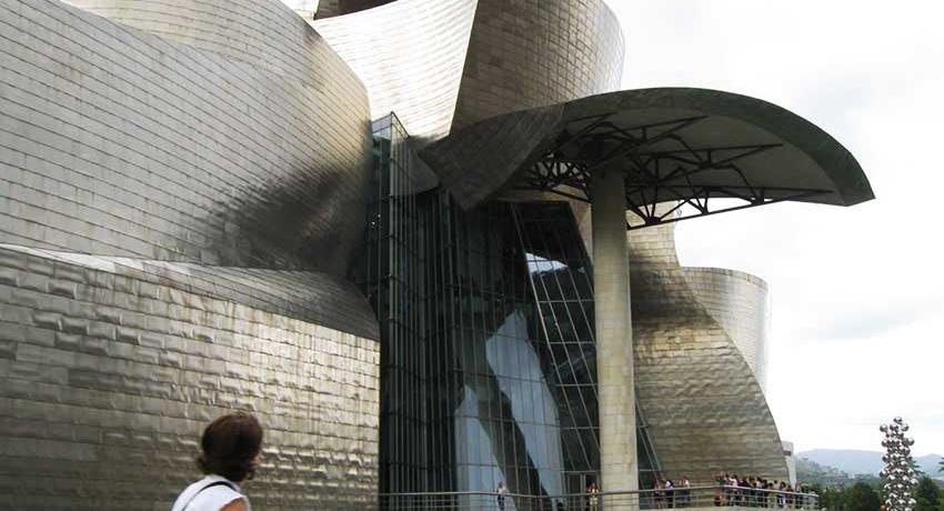 Outside view of the Guggenheim museum of modern art in Bilbao