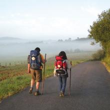 pilgrims walking early morning fog