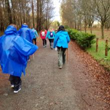 Group Walking on el Camino de Santiago path in the rain